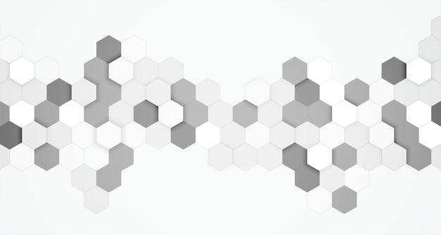 Fondo 3d abstracto blanco y negro hexagonal