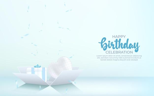 Fondo 3d feliz cumpleaños con caja de regalo, confeti y globo.