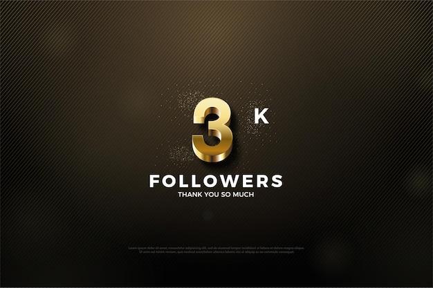 Fondo de 3k seguidores con figura dorada brillante