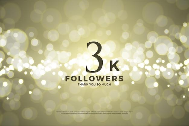 Fondo de 3k seguidores con fondo dorado