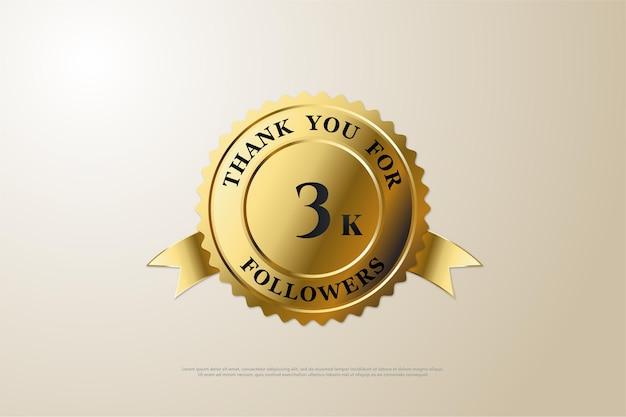 Fondo de 3k seguidores con un número en el medio de la medalla.