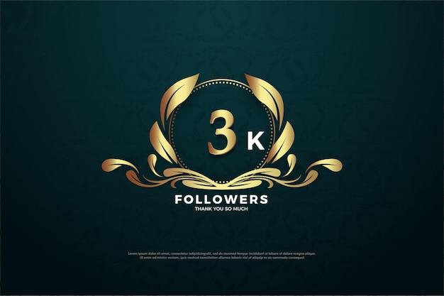 Fondo de 3k seguidores con un número de oro.