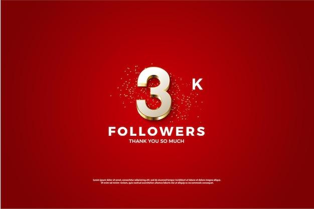 Fondo de 3k seguidores con números chapados en oro de lujo