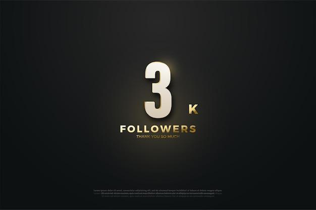 Fondo de 3k seguidores con números iluminados.