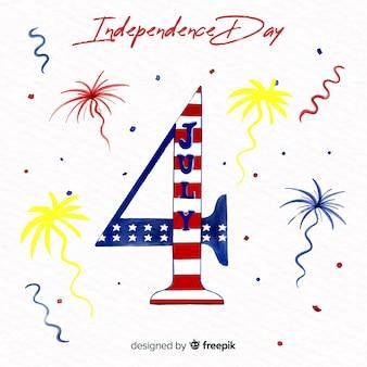Fondo del 4 de julio - día de la independencia en acuarela