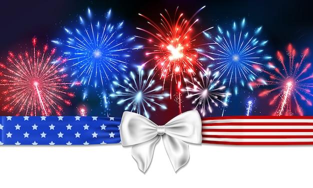Fondo 4 de julio con fuegos artificiales y un arco con estrellas y rayas
