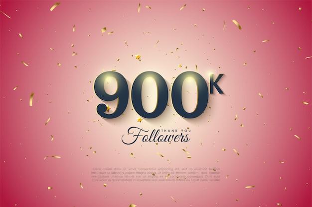Fondo de 900k seguidores con números brillantes