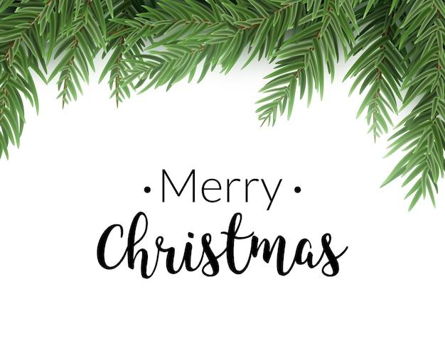 Fondo de abeto de navidad realista. tarjeta de borde de decoración de árbol de pino de feliz navidad.