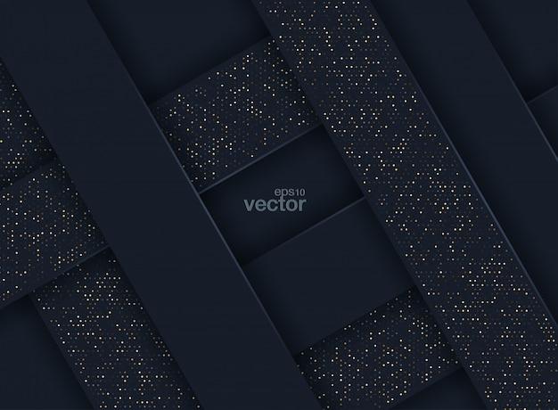 Fondo abstracto en 3d con una combinación de puntos dorados luminosos en estilo 3d