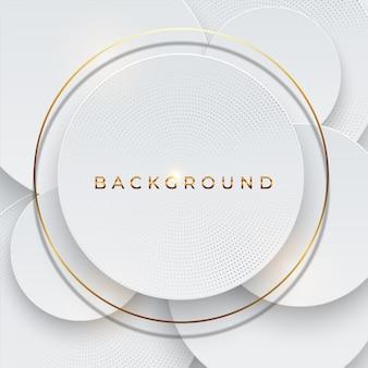 Fondo abstracto 3d con elemento de capas de papel blanco y oro de forma geométrica. corte de papel de diseño moderno con textura de lujo con patrón de semitonos de color dorado y tipografía. concepto de diseño
