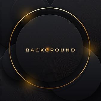 Fondo abstracto 3d con elemento de capas de papel negro de forma geométrica. decoración de corte de papel de diseño moderno con textura de color plateado de lujo y tipografía. concepto de diseño de formas circulares