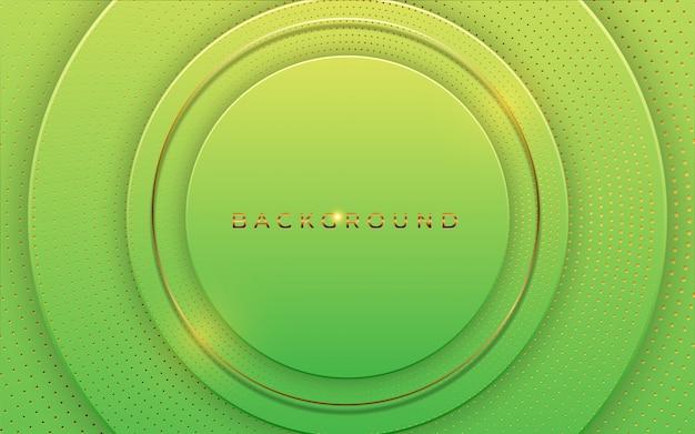 Fondo abstracto 3d con elemento de capas de papel verde de forma geométrica. corte de papel de diseño moderno con textura de lujo con patrón de semitonos de color dorado y tipografía. fondo de pantalla de concepto de diseño de materiales
