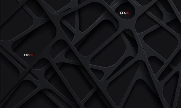 Fondo abstracto 3d con formas de corte de papel oscuro