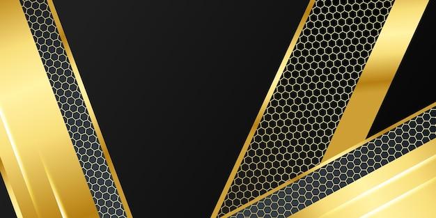 Fondo abstracto 3d moderno negro y dorado con decoración ligera y patrón de textura de metal