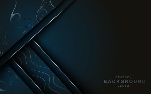 Fondo abstracto 3d oscuro moderno con forma de línea de plata de mármol.