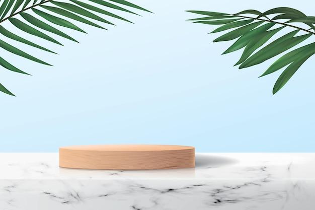 Fondo abstracto 3d con plataforma de madera vacía sobre la superficie de mármol.