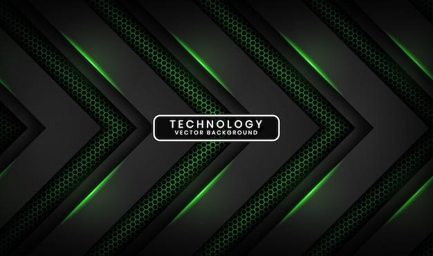 Fondo abstracto 3d tecnología negro con hexágono texturizado, capa de superposición con decoración de efecto de luz verde