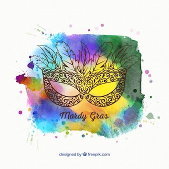Fondo abstracto de acuarela con boceto de máscara