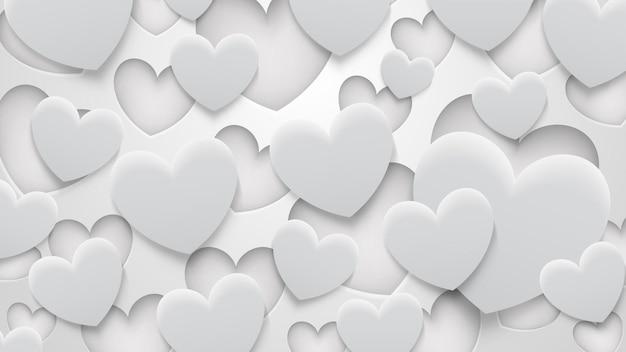 Fondo abstracto de agujeros y corazones con sombras en colores blanco y gris