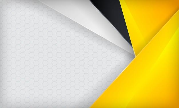Fondo abstracto amarillo, blanco y negro superpuesto. plantilla moderna