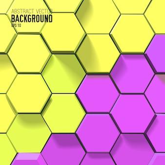 Fondo abstracto amarillo y morado con hexágonos geométricos