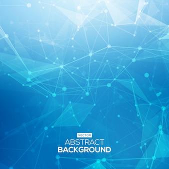 Fondo abstracto azul brillante poli baja tecnología. estructura de conexión. fondo de ciencia de datos. fondo poligonal molécula y antecedentes de comunicación.
