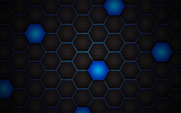 Fondo abstracto azul claro del hexágono