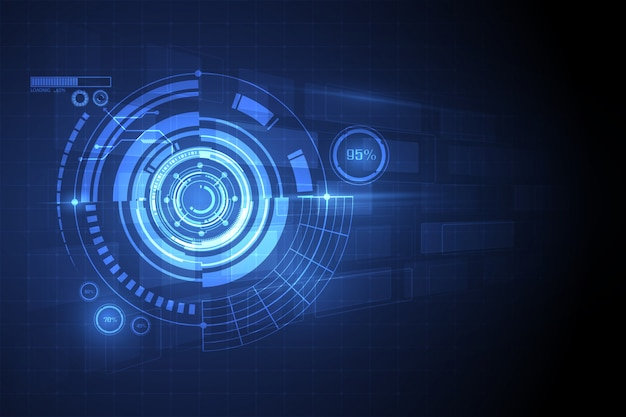 Fondo abstracto azul del concepto de la innovación de la tecnología del círculo