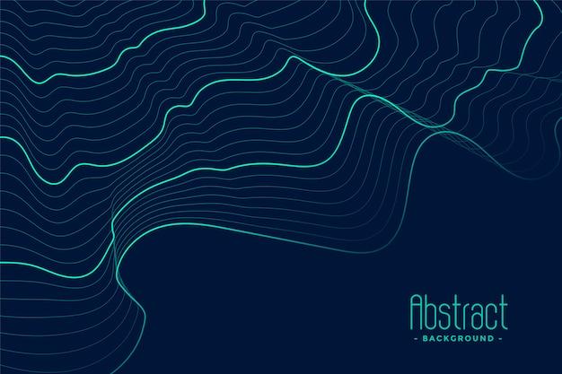 Fondo abstracto azul con líneas de contorno turquesa
