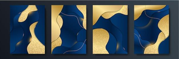 Fondo abstracto azul con líneas doradas