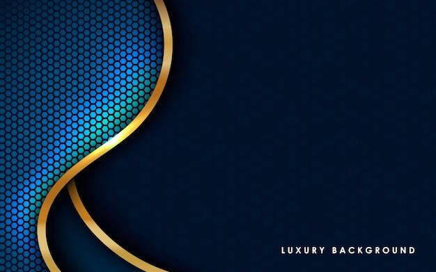 Fondo abstracto azul moderno con lista de oro.