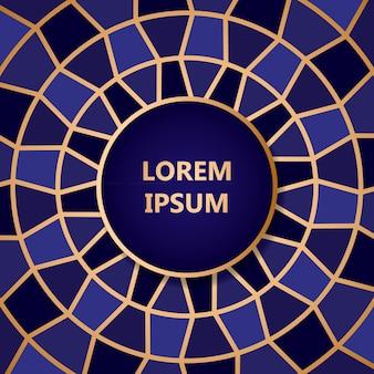 Fondo abstracto azul mosaico con línea de oro