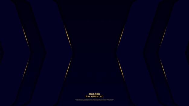 Fondo abstracto azul oscuro con líneas superpuestas y oro vector de fondo de lujo.