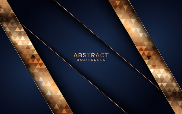 Fondo abstracto azul oscuro moderno con formas doradas.