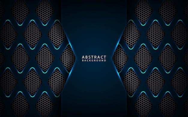 Fondo abstracto azul oscuro tecnología metálica