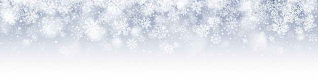 Fondo abstracto de banner de feliz navidad de copos de nieve cayendo
