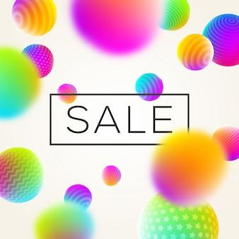 Fondo abstracto con banner de venta y esferas multicolores. ilustración.