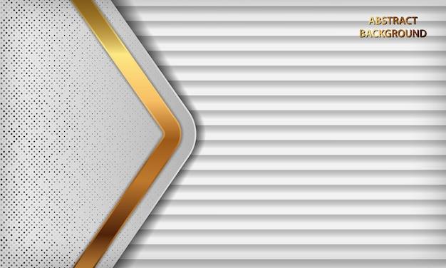 Fondo abstracto blanco de lujo con capas superpuestas. textura gris con decoración de efecto de línea dorada y elemento de puntos de brillos plateados.