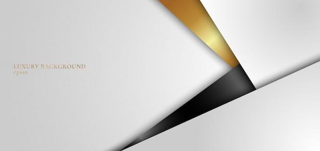 Fondo abstracto blanco, negro y dorado geométrico