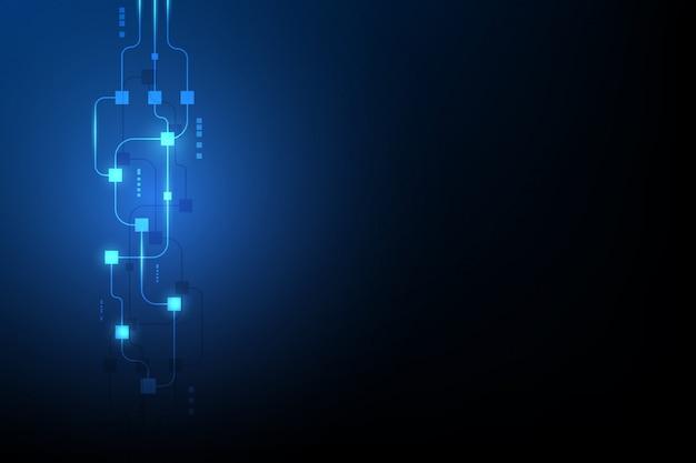 Fondo abstracto del blockchain del establecimiento de una red del circuito