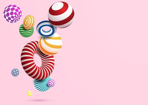 Fondo abstracto con la bola y el anillo decorativos coloridos. vector eps10.