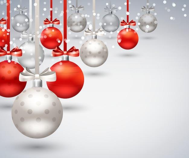 Fondo abstracto de bolas de navidad