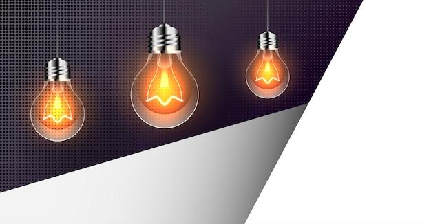 Fondo abstracto con bombillas realistas