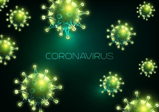 Fondo abstracto de brote de coronavirus futurista