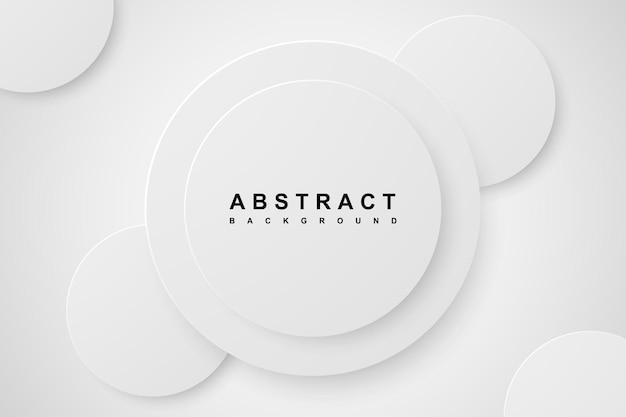 Fondo abstracto con capa de papercut blanco círculo 3d