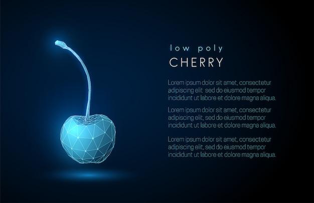 Fondo abstracto de la cereza con la plantilla del texto. diseño de estilo polivinílico baja 3d