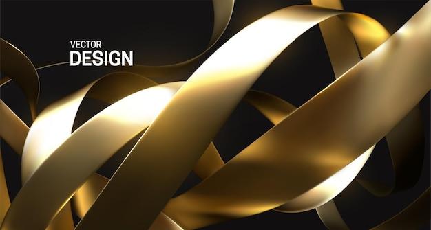 Fondo abstracto con cintas doradas rizadas