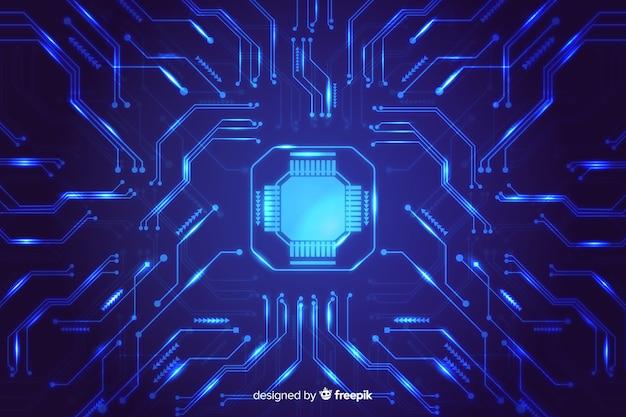 Fondo abstracto de circuito electrónico en estilo gradiente