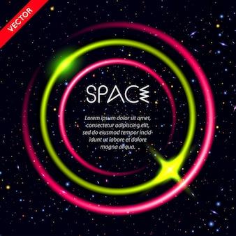 Fondo abstracto con círculos luminosos en el espacio