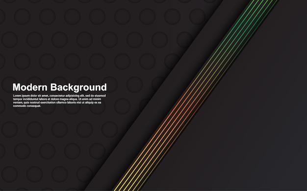 Fondo abstracto de color negro y diseño de diseño moderno de línea verde
